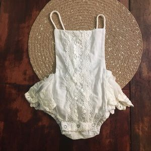 Other - 3/$20;White/ Cream crochet and lace ruffle onesie